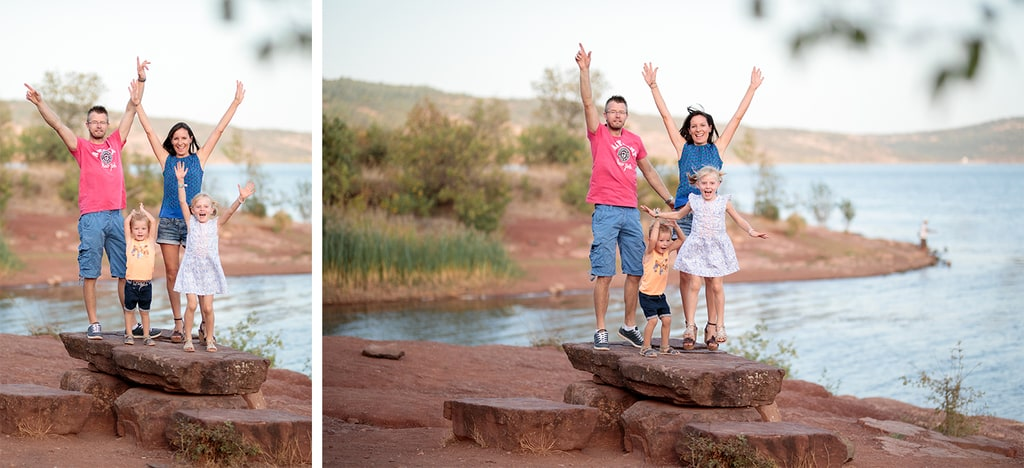 famille au bord du lac du salagou