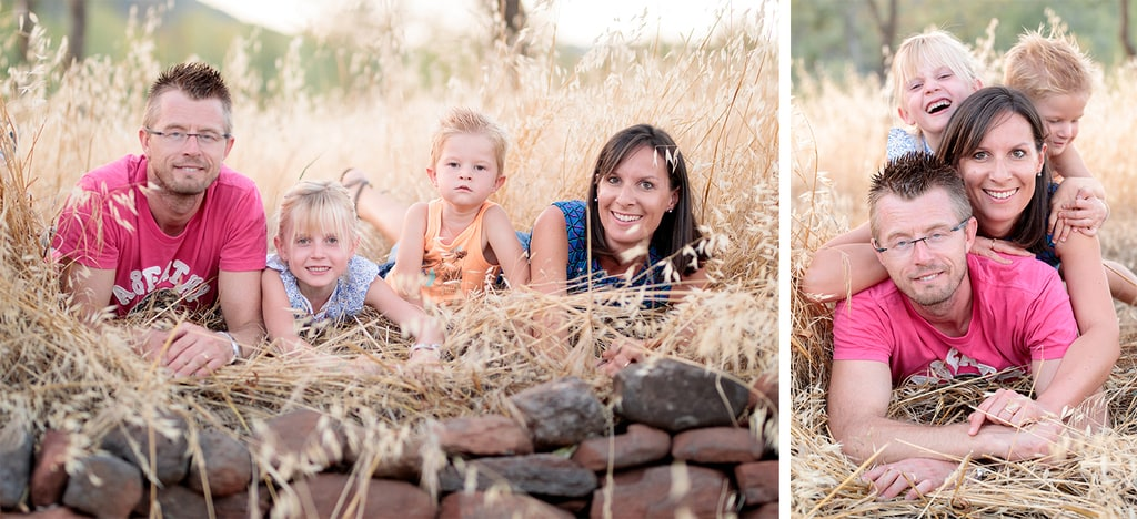 famille couchée dans les hautes herbes